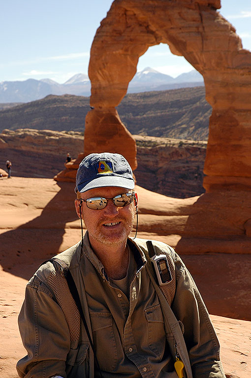 Your host poses at the iconic Delicate Arch, where he and his bride married three years earlier.