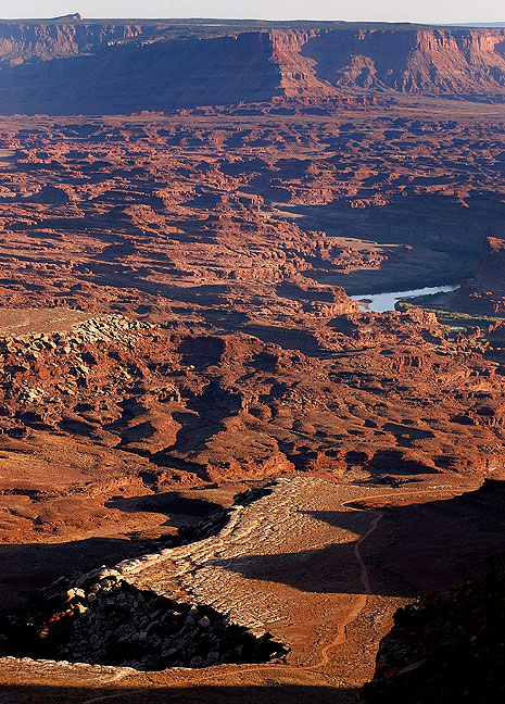 This view of Canyonlands looks southeast from the Lathrop trail.