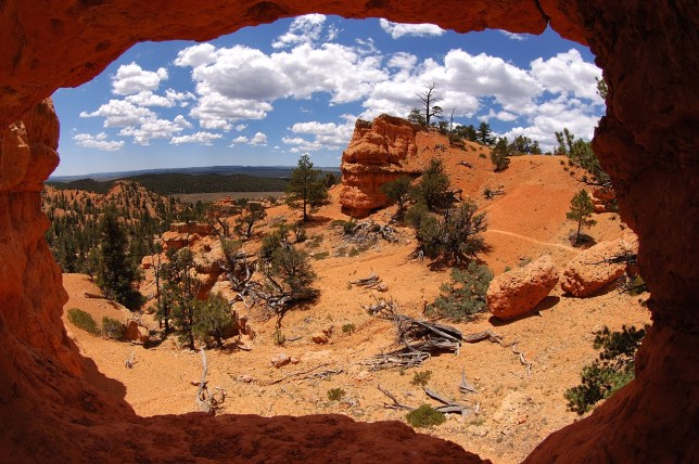 This small natural arch perfectly frames the canyons and sky.