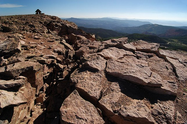 Boulder field with shelter house in the distance, Brian Head Peak, Utah.