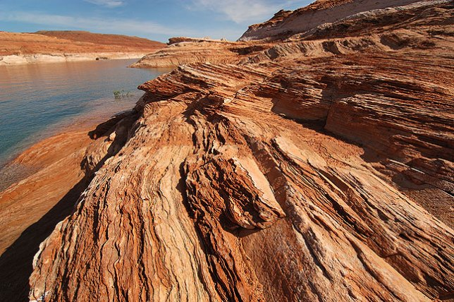 Striations in sandstone at Lake Powell, above the Glen Canyon Dam.