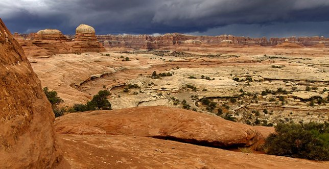An unexpected thunderstorm approaches the Needles District at Canyonlands National Park, forcing my party and me to take shelter from hailstones.