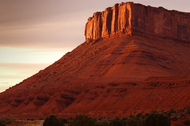 Sunlight catches the mesa tops in Castle Valley.