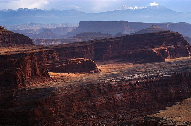 View across the Colorado RIver looking east from the White Rim Road, Canyonlands.