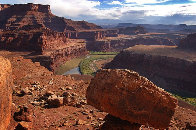 View across the Colorado RIver looking east from the White Rim Road, Canyonlands, with Dead Horse Point in the upper left hand side of the frame.