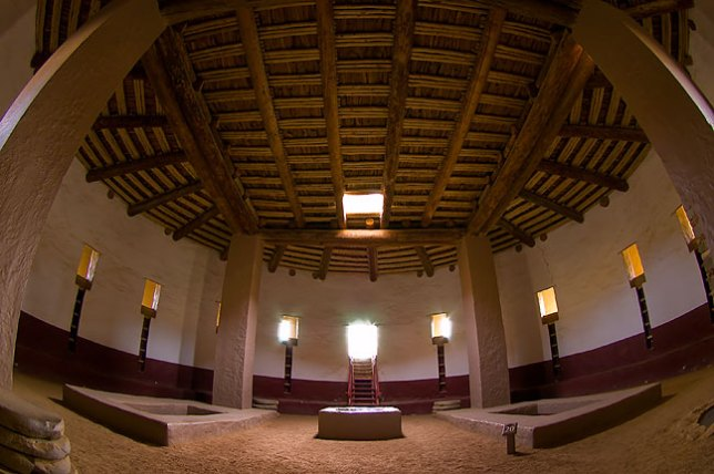 View of the inside of the reconstructed Great Kiva at Aztec Ruins made with 10-17mm fisheye lens
