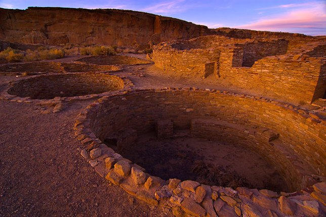 Last light on the ruins at the Chetro Ketl great house, Chaco Canyon.