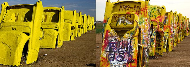 The Cadillac Ranch as it appeared on Sunday (left), and Fiday, five days later (right)