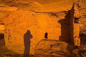 This is my shadow on the cliff wall at Gallo Campground at first light.