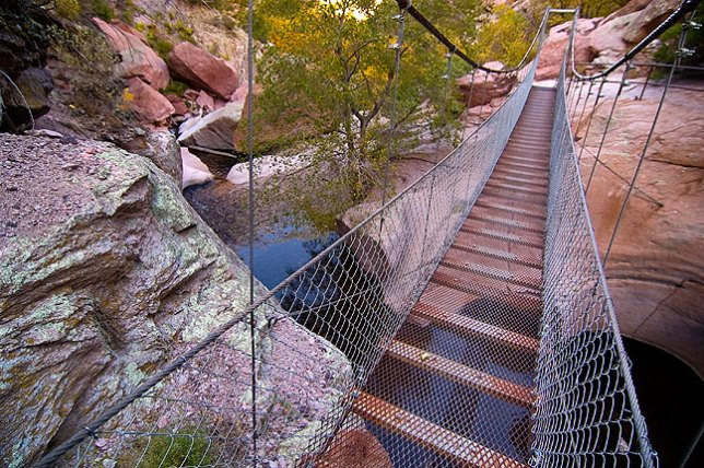 View of the swinging bridge looking back downcanyon.