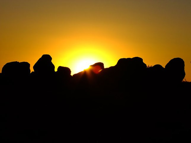 The sun sets on City of Rocks State Park, New Mexico.