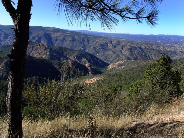 Mogollon Mountains and Gila National Forest from the Copperas overlook on New Mexico state highway 15 south of Gila.