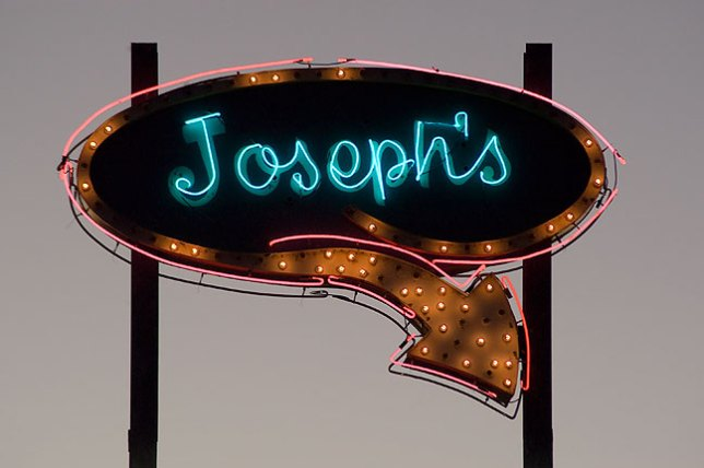 I photographed this restaurant sign in Vaughn, New Mexico, at dusk. My father's name was Joseph.
