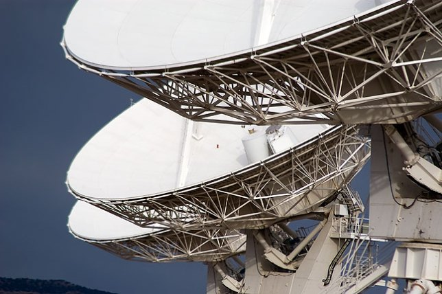 Tight shot showing some of the dishes of the VLA. It was very cold and very windy on this day.