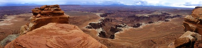 Three-panel panograph of the view at the end of the White Rim Overlook trail. Canyonlands.