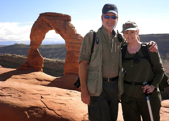 Richard and Abby at Delicate Arch, Arches National Park, Utah.