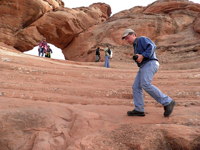 Robert on the scramble to Frame Arch near Delicate Arch.