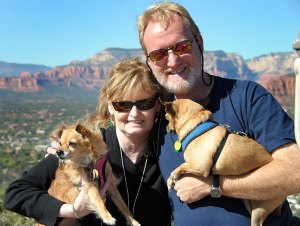 Abby and I pose with the dogs at the Sedona, Arizona, Airport, which offers a view of the entire Sedona area.