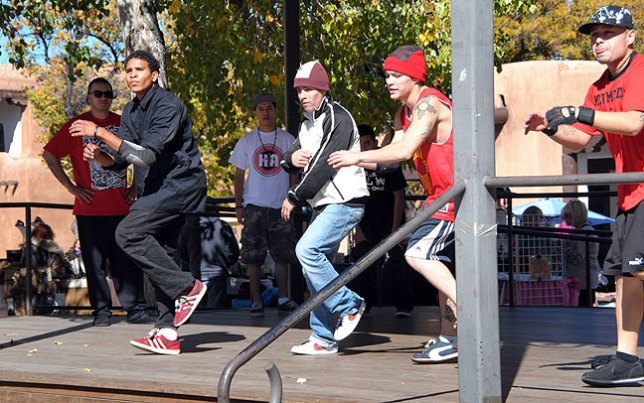 This is one of Abby's images of a dance group who performed on The Plaza in Sante Fe.