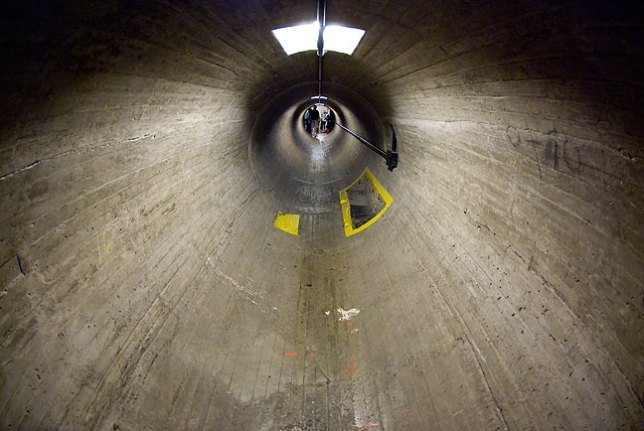 "Access tunnel, Hoover Dam; at 6' 1"" tall, I had to bend to walk through this passage."