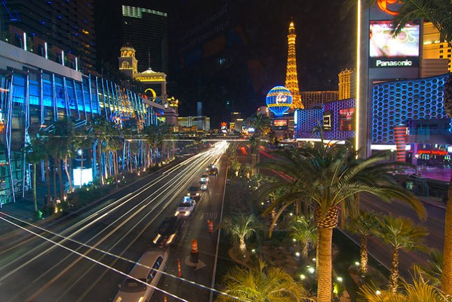 This view from a skywalk looks north up Las Vegas Boulevard.