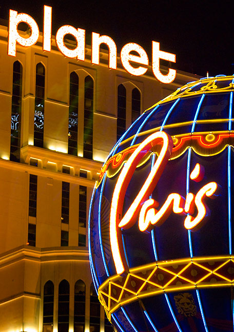 Planet Hollywood and The Paris Las Vegas combine to form this bright composition on The Las Vegas Strip.