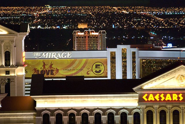 This telephoto view of Las Vegas shows rooftops of some of the best-known casinos.