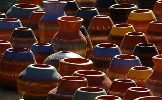 Clay pots for sale sit in the chilly morning air in Santa Fe.