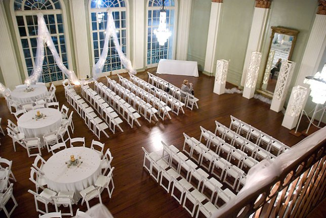 This is the large front room at the New Orleans Athletic Club, decorated for the wedding.