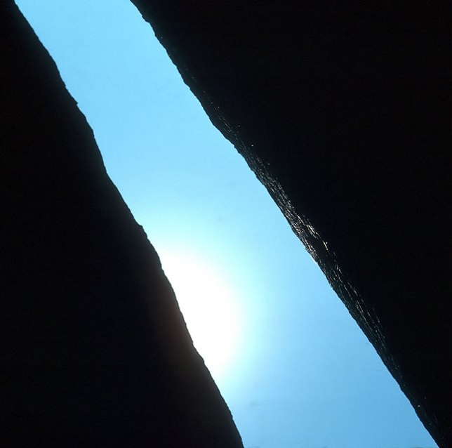 """The Crack"", a formation in the Glacier Rocks, in 1978."