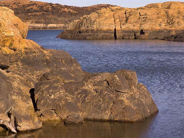 "Quanah Parker Lake shows a ""bathtub ring"" characteristic of below-normal water levels."