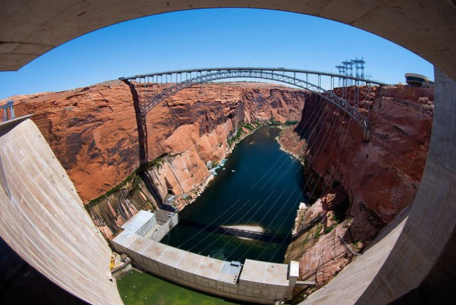 This fisheye view from Glen Canyon Dam looks south downstream.