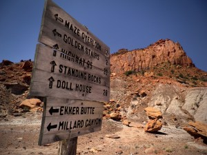 Wooden signs show the way deep in the backcountry of southern Utah.
