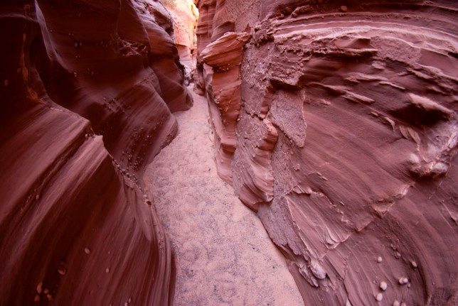 Deep in Waterholes Canyon I found walls covered in moki marbles.