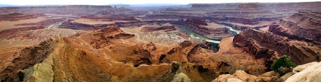 The expansive view from Dead Horse Point is revealed in this panograph looking southwest. (Click, then click again to view larger.)