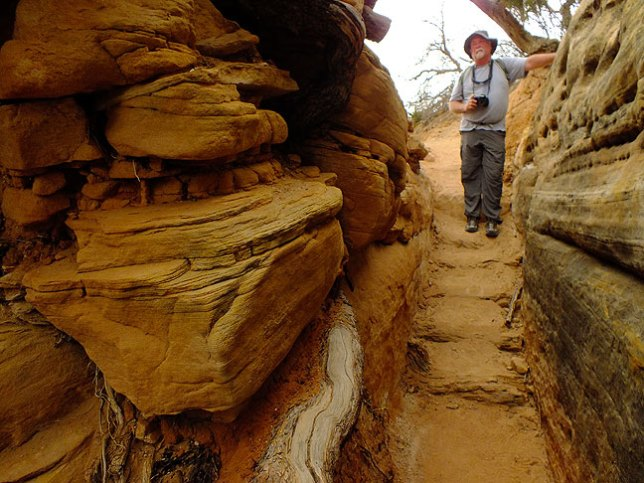 """Jim enters """"the crack,"""" a signature formation on the Chesler Park trail, on our way back to Elephant Hill."""