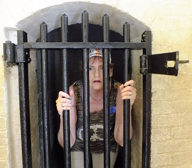 "Chele made this image of Abby ""in jail"" in a tiny Fort McHenry detention cell."