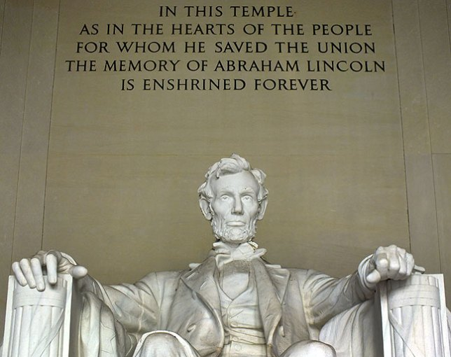 In spite of its dignity and national significance, the statue of Abraham Lincoln was vandalized just a week after I made this image.