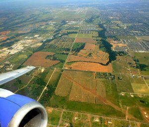 On our way: Will Rogers World Airport in Oklahoma City is visible at the top of this frame as we depart on our non-stop Southwest Airlines flight to Baltimore.