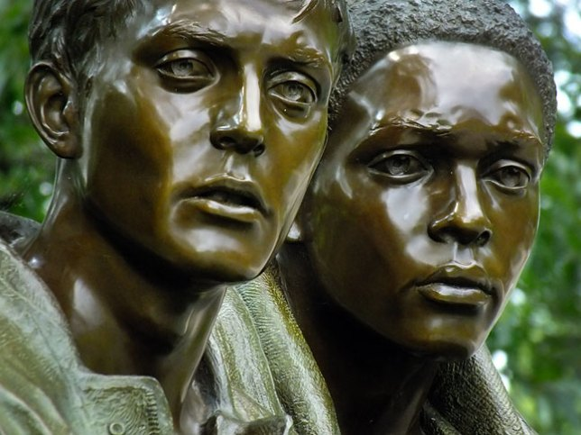 The statue of the Vietnam soldiers impressed me more than the wall. This is more of an extract that the usual view of the three figures, and emphasizes the bleak nature of the faces in the piece.
