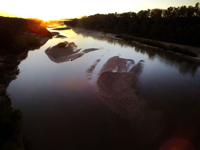 This is a wider view of the Canadian River at first light.