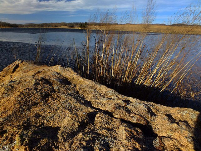 This broader view of French Lake shows wheat grass in handsome afternoon light.