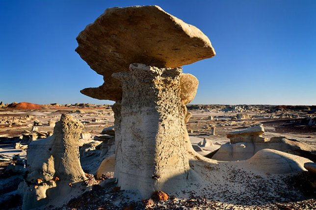 Early in my hike at Bisti I had excellent early light and pure blue skies.