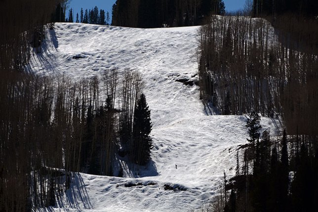 In 1990 Scott, Lisa, Robert and I skied at this mountain, which was called Purgatory at the time. It has since been renamed Durango Mountain Resort. Being late in the season, you can see just one skier in this image.