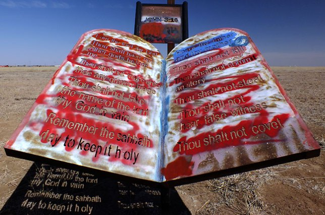"The Bible's Ten Commandments were etched in steel, the graffiti tagged, at the Texas panhandle ""peace park."""