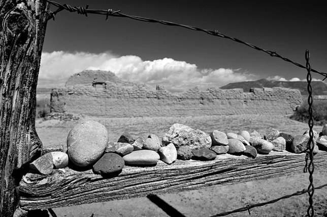 Stones adorn the gate at the Santa Rosa de Lima Church ruins north of Española, New Mexico.