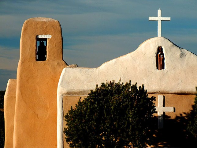 The San Francisco de Asis Church of Golden, New Mexico was immaculately maintained.