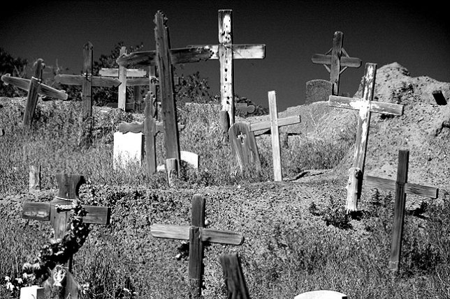 Crosses fill the cemetery at Taos Pueblo. I thought it odd that no one is allowed to photograph the inside of the church, but the cemetery is fair game.