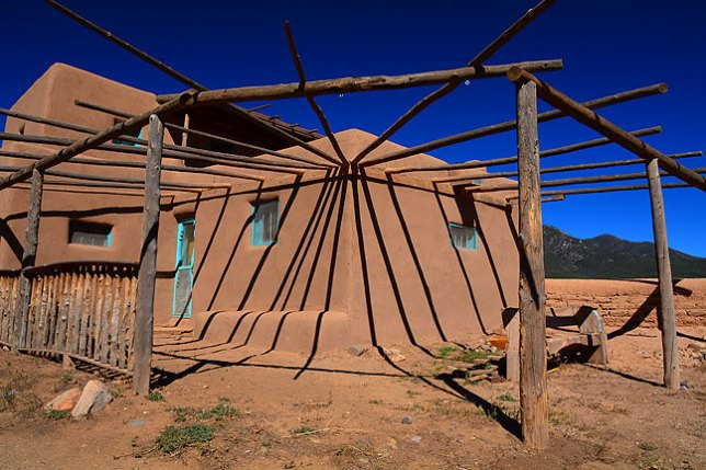 The northeast corner of Taos Pueblo features this structure with fascinating shadows.