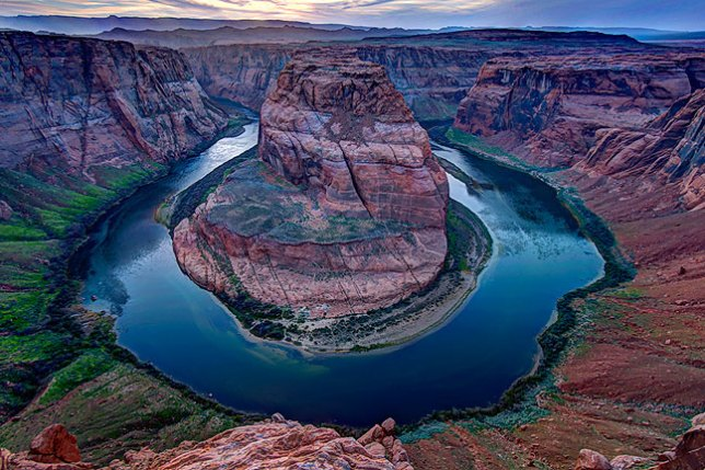 This view of Horseshoe Bend of the Colorado was made about 20 minutes after sunset, thus the blue hues.